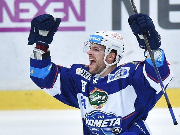 Michal Gulaši z Komety se raduje z gólu proti Mladé Boleslavi.