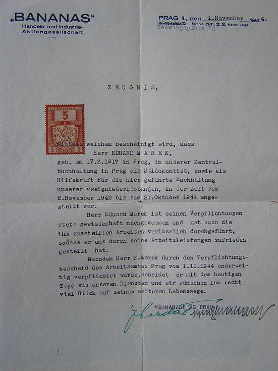 Protektorátní potvrzení o zaměstnání 1944