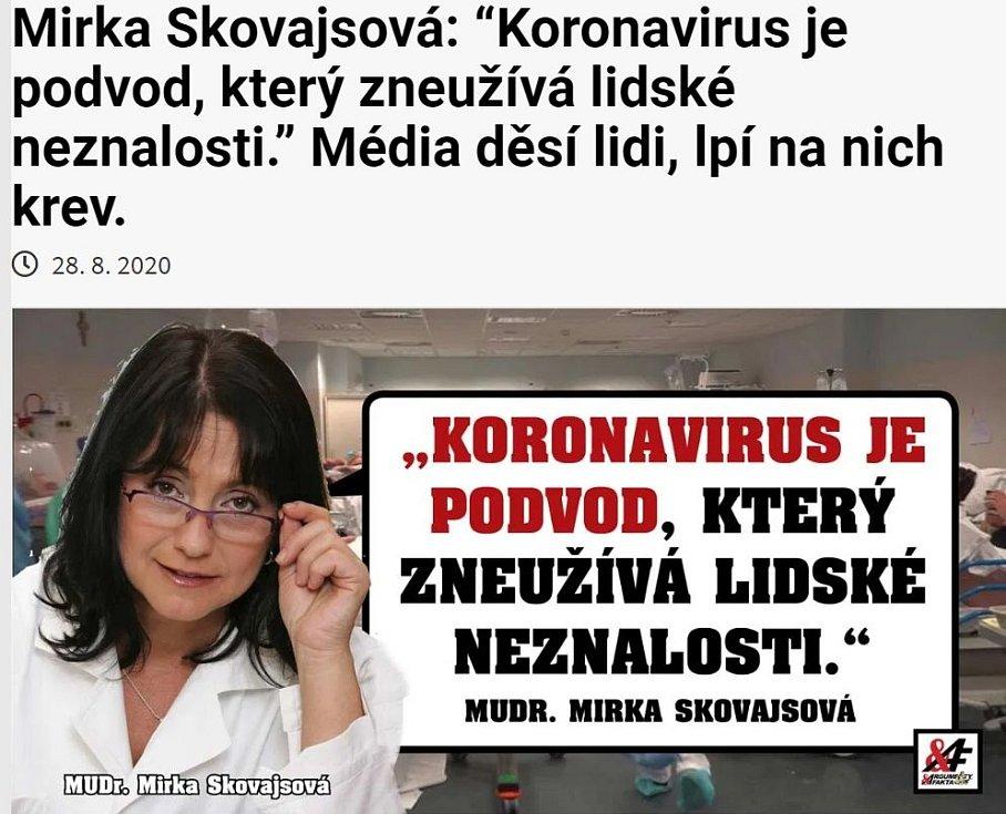"""Původně se tato grafika objevila jako součást """"článku"""" dezinformačního webu Arfa.cz, který citoval výroky vytržené z kontextu a doprovodil je nepravdivým titulkem"""