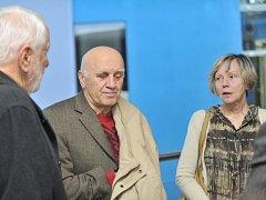 Eliška a Ladislav Mauerovi, prarodiče chlapců z kuřimské kauzy, hovoří s novináři v budově brněnského městského soudu. Ten 16. ledna odložil jednání o tom, komu budou chlapci svěřeni do péče. Otec chlapců se z důvodu nemoci k soudu nedostavil.