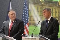 Zleva americký ministr zahraničí Mike Pompeo a premiér Andrej Babiš vystoupili na tiskové konferenci 12. srpna 2020 v Praze