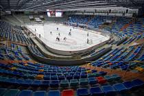 Předkolo play off hokejové extraligy - 2. zápas: Mountfield Hradec Králové - HC Energie Karlovy Vary, 10. března 2020 v Hradci Králové. Zápas se kvůli přijatým opatřením v boji proti novému typu koronaviru odehrál bez diváků.