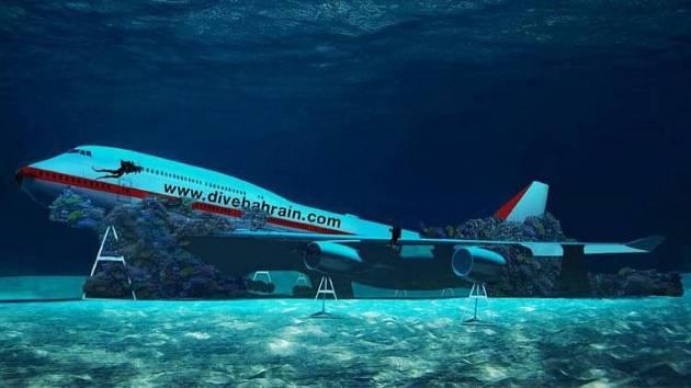 Vizualizace potopeného Boeingu 747 v bahrajnském podvodním tématickém parku