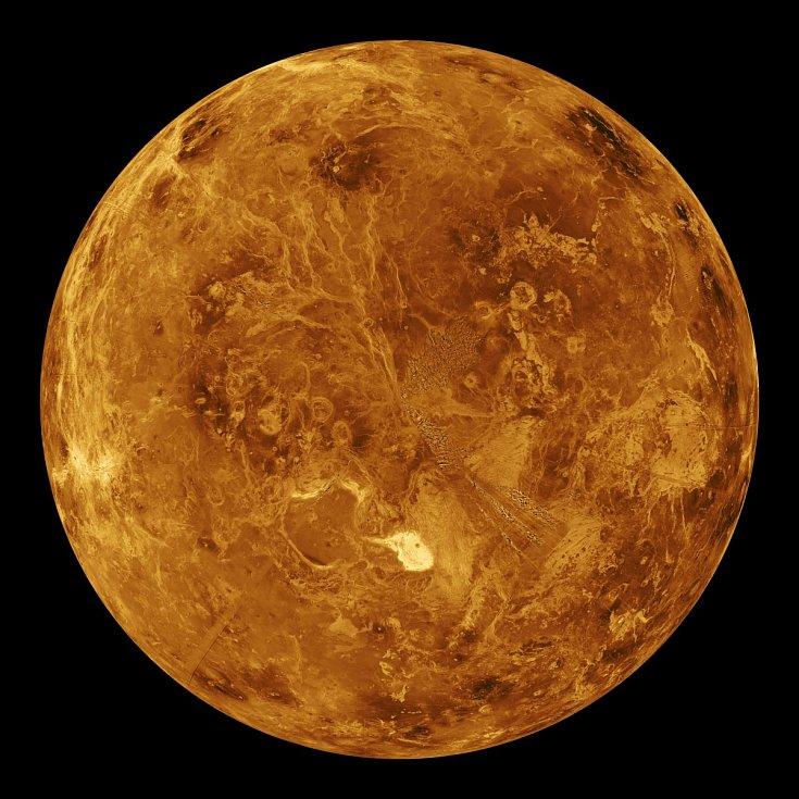 Venuše. Počítačově simulovaný globální pohled na severní polokouli