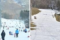 Sportovní areál Klíny v Krušných horách na konci prosince 2020 (vlevo) a v sobotu 6. března 2021 (vpravo)