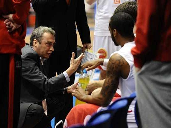 Time-out basketbalistů Nymburku.
