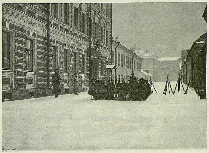 Finský regiment v petrohradských ulicích v lednu 1905
