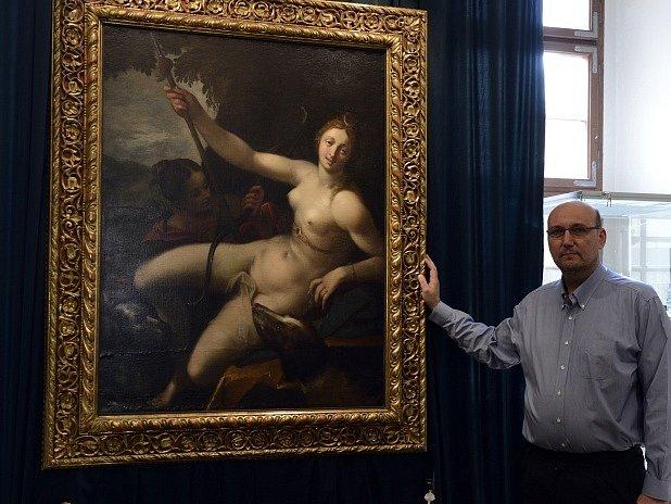Diana odpočívající po lovu, obraz malíře Hanse von Aachena