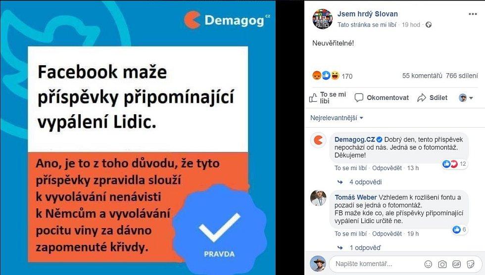 Administrátoři facebookové stránky webu Demagog.cz v diskusích na nepravdivou informaci upozorňovali