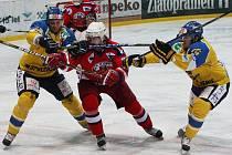 Hokejisté Ústí (ve žlutém) porazili Havlíčkův Brod.