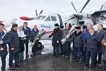 Letoun L-410 výrobce Aircraft Industries v barvách aerolinek Zhetysu v Kazachstánu na letišti Taldykorganu.