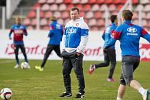 Trénink fotbalové reprezentace v Praze
