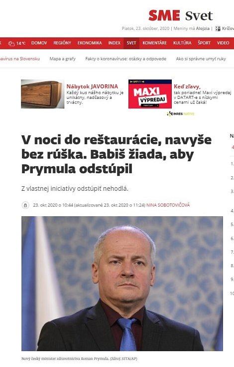 Světová média zaznamenala Prymulovu blamáž. Sme.sk
