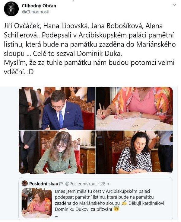Skutečnost, že pamětní listinu ukládanou pro příští generace do Mariánského sloupu, podepsali Jiří Ovčáček, Hana Lipovská, Jana Bobošíková a Alena Schillerová, pobavila internetové vtipálky