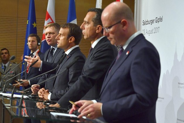 Robert Fico, Emmanuel Macron, Christian Kern a Bohuslav Sobotka
