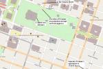 Plán místa, kde došlo k pokusu o Fordovo zastřelení