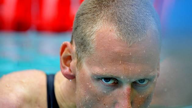 Květoslav Svoboda po závodě na 200 metrů volným způsobem.