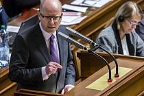 Bohuslav Sobotka ve Sněmovně.