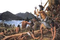 Bitva u Sitky. Obraz Louise S. Glanzmana zobrazuje bojový střet z roku 1804, kdy se Kiks.ádi Tlingitové (místní etnická skupina Indiánů) postavili u ústí řeky Indian na místě dnešního Národního historického parku Sitka ruskému vpádu