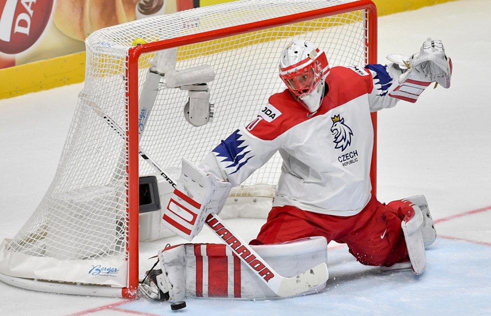 Šimon Hrubec - Utkání skupiny B mistrovství světa v hokeji: Norsko - Česká republika