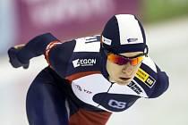 Martina Sáblíková v závodu SP na 3000 metrů v Heerenveenu.