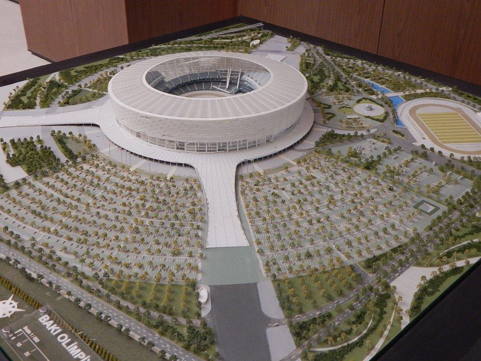 Momentky před fotbalovou kvalifikací: Ázerbájdžán - Česko: model stadionu