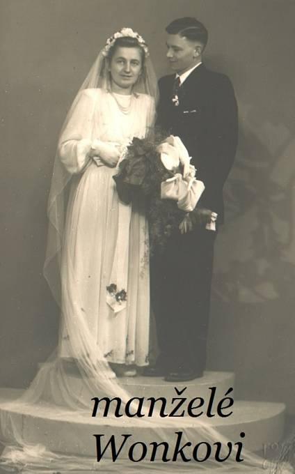 Rodiče bratrů Wonkových - Gerta a Ludwig Wonkovi na svatební fotografii