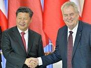 Prezident Miloš Zeman a jeho čínský protějšek Si Ťin-pching.