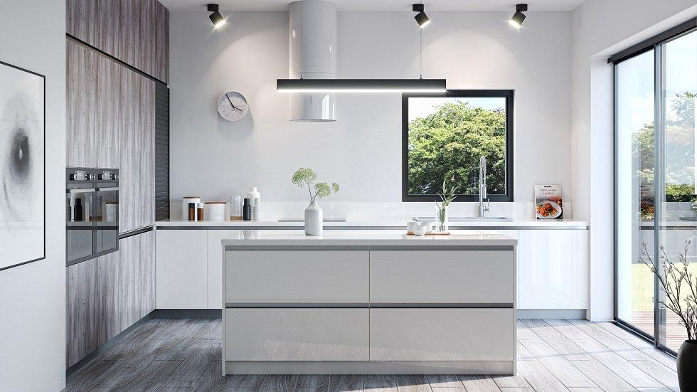 Kuchyňská linka s ostrůvkem je ideální právě pro vaření ve větší rodině, ale zároveň příjemně oddělí kuchyň od obývací místnosti.