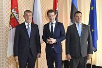 Český premiér Andrej Babiš, rakouský kancléř Sebastian Kurz a estonský premiér Jüri Ratas.