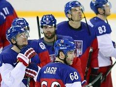 Zklamaní čeští hokejisté po prohraném čtvrtfinále s USA na olympijských hrách v Soči.