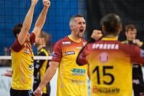 Volejbalisté Dukly Liberec se radují z postupu do Ligy mistrů.