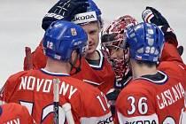 Radost z vítězství hokejové reprezentace.