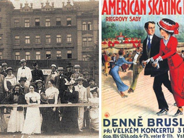 Kouzlo dávných časů. Mužstvo tenisového klubu I. ČLTK na turnaji roku 1902 a plakát Antonína Brunnera z roku 1900.