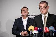 Premiér Andrej Babiš zahájil 3. září v Praze komunální a senátní kampaň pro říjnové volby. Na snímku lídr a primátor Brna Petr Vokřál.