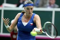 Petra Kvitová v prvním kole Fed Cupu proti Jarmile Gajdošové z Austrálie.