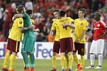 Fotbalisté Sparty se radují z výhry nad Hapoelem Beer Ševa.