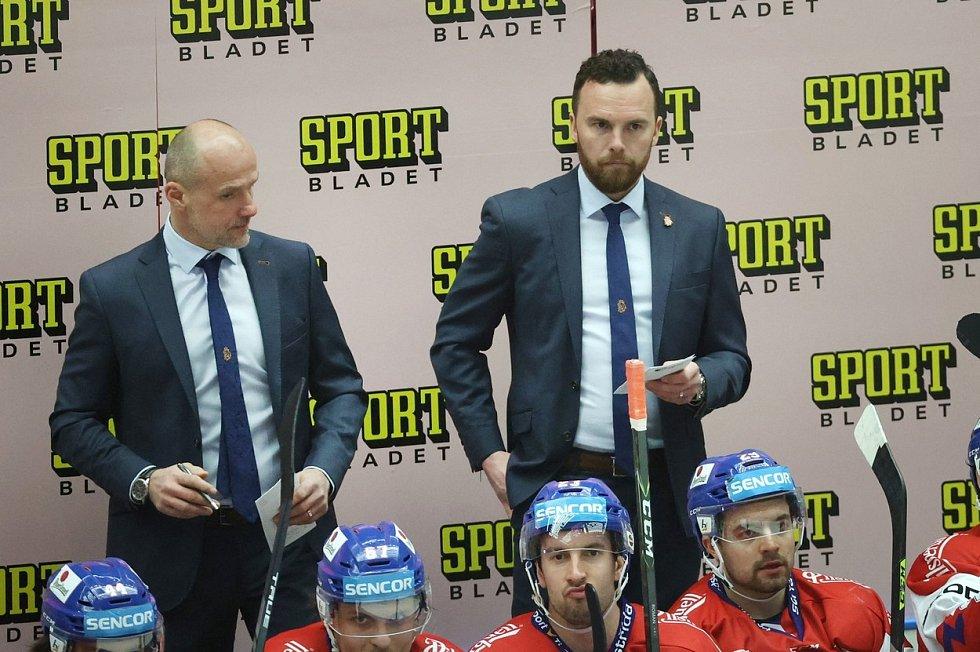 Trenér Filip Pešán na lavičce české hokejové reprezentace