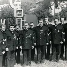 Jaroslav Ondráček (třetí zleva) na oslavě Dne horníků v 80. letech