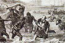 Magalhaesova smrt ztvárněná umělcem z 19. století. Mořeplavce zabili mactanští bojovníci, protože se přidal na stranu jejich nepřítele