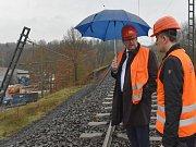 Ministr dopravy Dan Ťok a ředitel Správy železniční dopravní cesty Jiří Svoboda