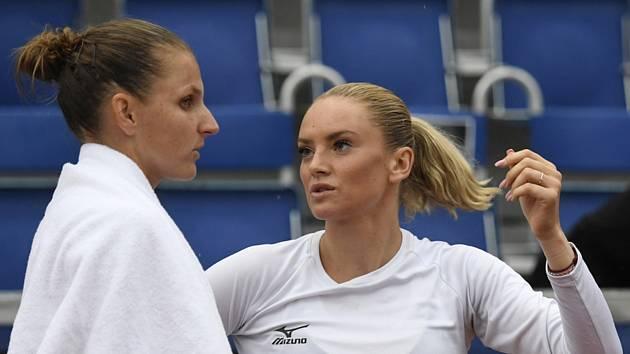 Karolína Plíšková (vlevo) a Tereza Martincová