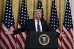 Americký prezident Donald Trump na tiskové konferenci v Bílém domě.