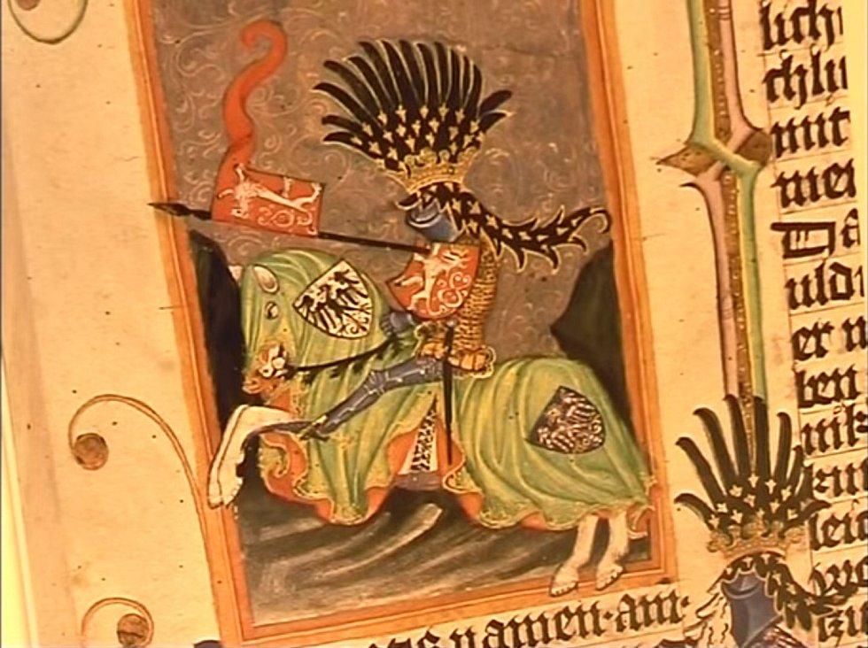 Vyobrazení českého krále Jana Lucemburského s českým lvem
