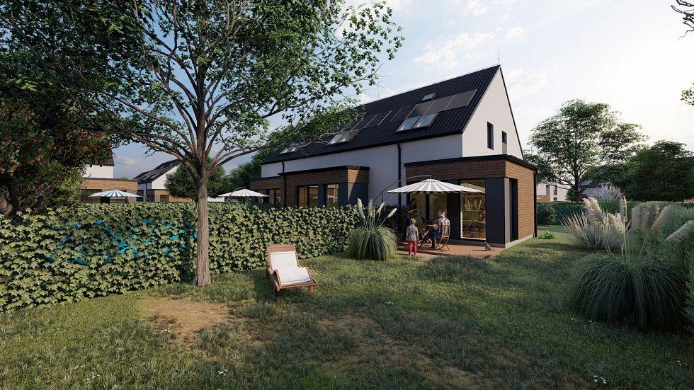 Příkladem příměstského developerského projektu je nízkoenergetický rezidenční areál společnosti Bidli.