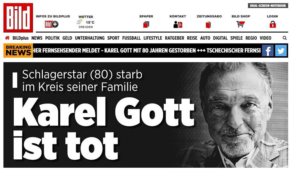 Německý Bild okamžitě věnoval českému zpěváku titulku svého webu