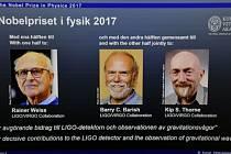 Rainer Weiss, Barry Barish a Kip Thorne