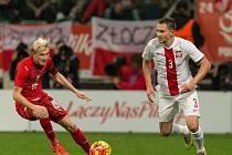 Polsko - Česko: Ladislav Krejčí (vlevo) zařídil parádní trefou snížení na 1:2