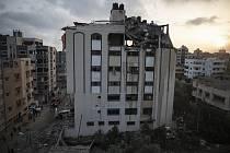 Poškozená budova v Pásmu Gazy