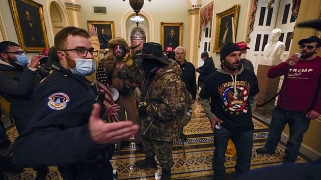 Příznivci amerického prezidenta Donalda Trumpa poté, co 6. ledna 2020 překonali policejní zátarasy a vnikli do budovy Kapitolu ve Washingtonu.